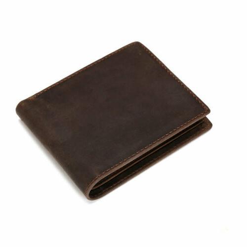 Men's Leather Wallet Vintage Coin Card Holder