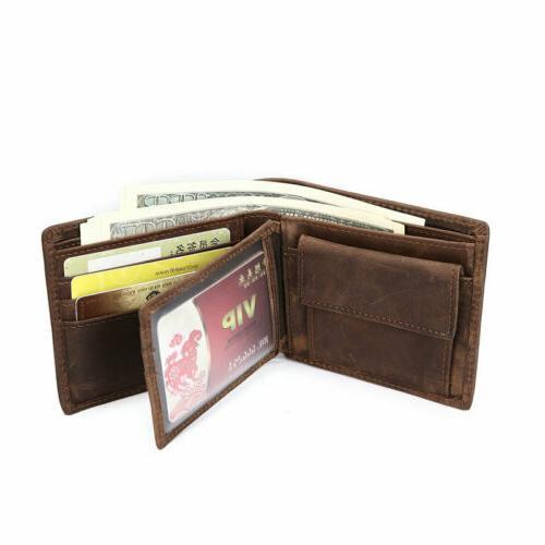 men s leather bifold wallet vintage coin