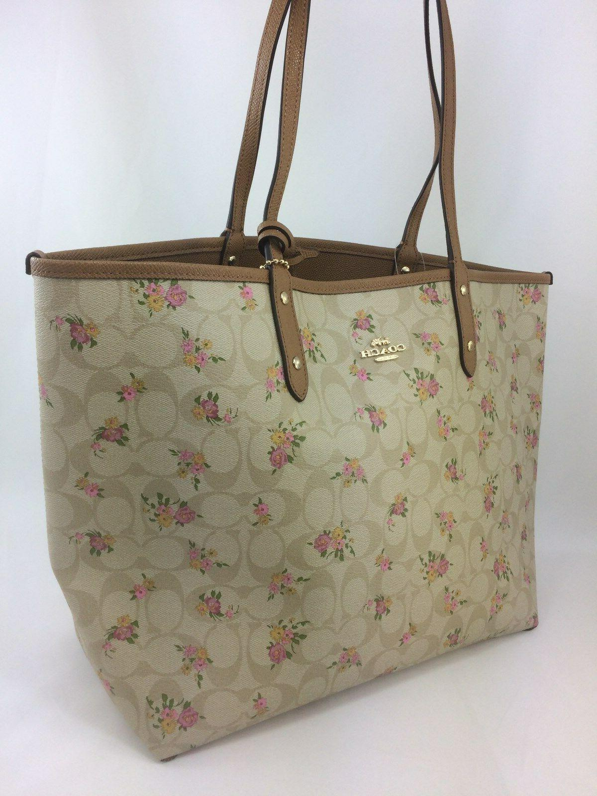 New Authentic Coach F31776 Reversible City Tote With Daisy Rose Floral Print