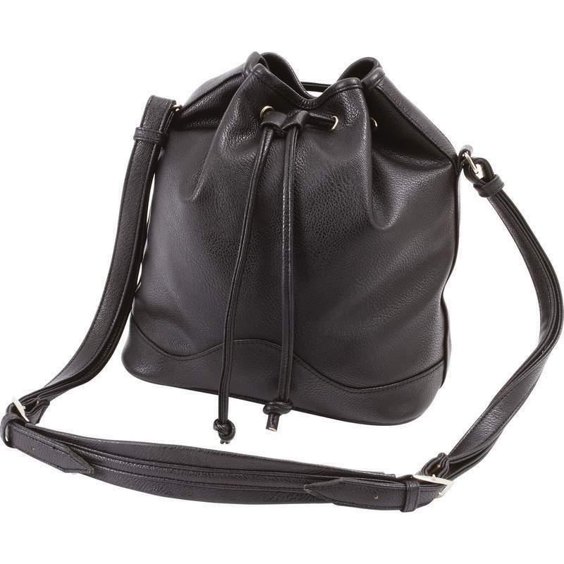 new black drawstring bucket purse vegan leather