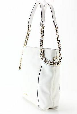 Michael Kors NEW Optic White Gold Remy Leather Shoulder Handbag $298- #045