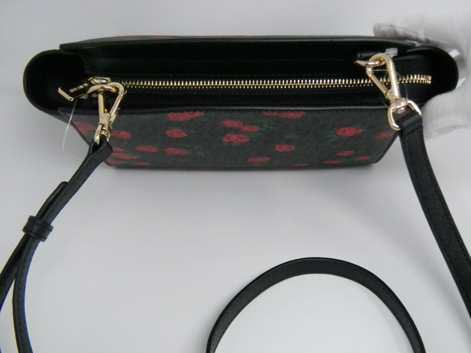 New Kors Black Red Floral Crossbody