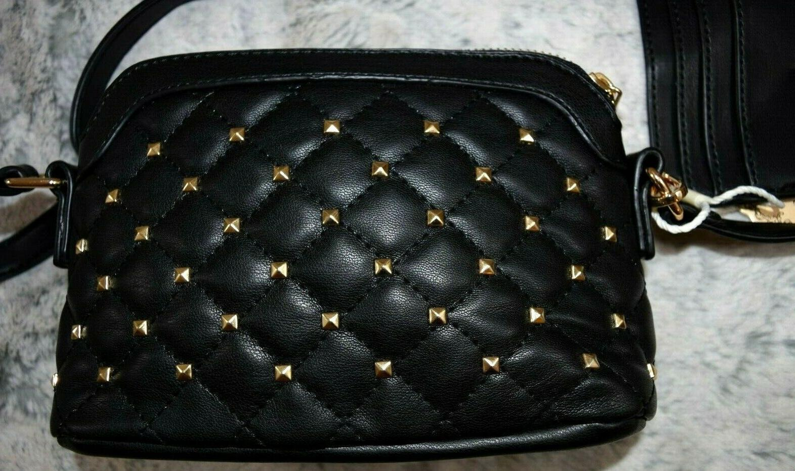 new set black vegan leather purse golden