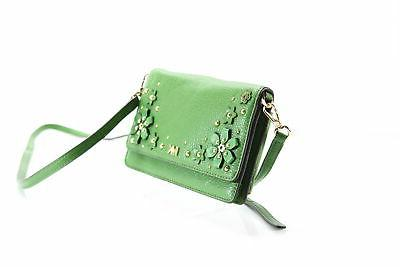 Michael NEW Green Gold Phone Floral Crossbody Leather $148- #075