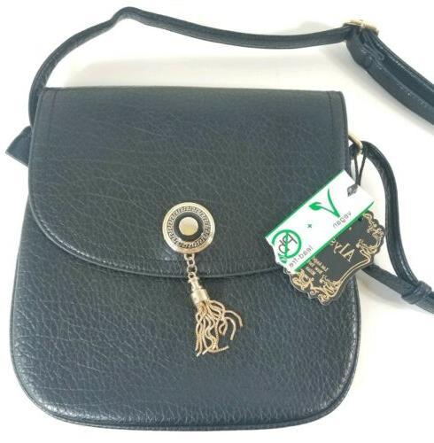 New Vegan Safe Black Gold Bag Purse