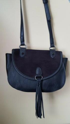 nwt black faux suede and leather purse
