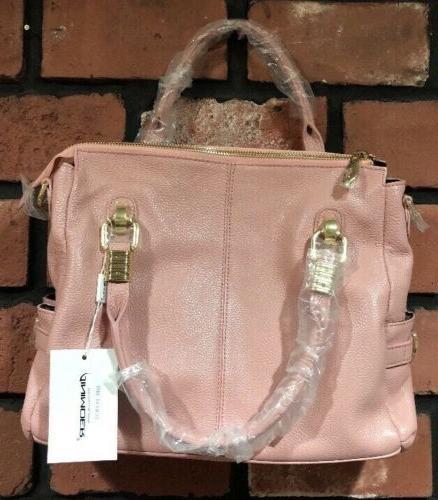 NWT Ainimoer Pink 100% Genuine Leather Shoulder Bag Gold Accent