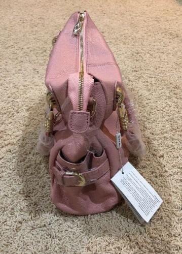 NWT Pink 100% Genuine Leather Purse Shoulder Bag Gold