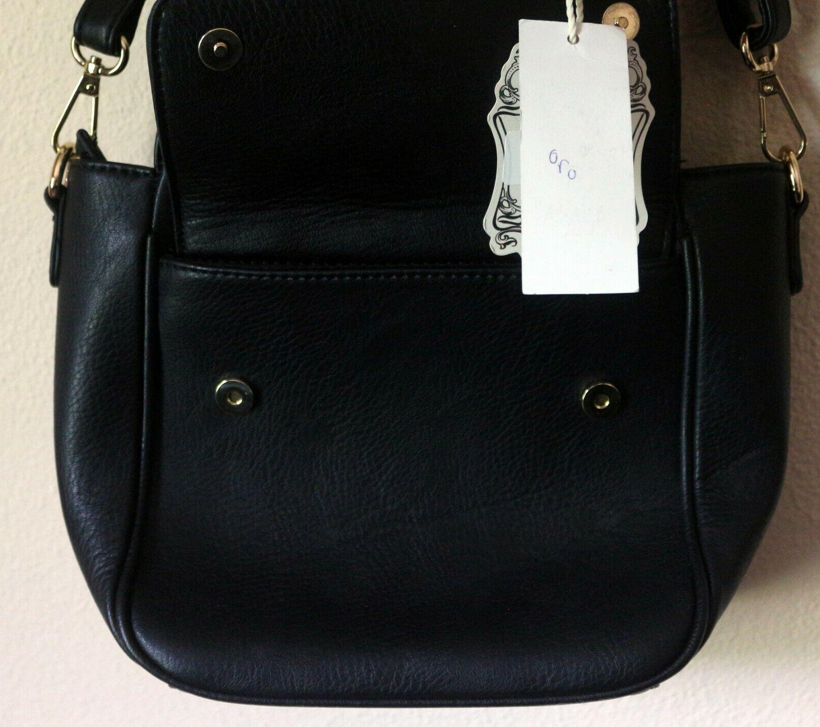 NWT Vegan Free Faux Leather Black Handbag Crossbody Purse