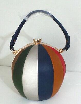 Alyssa Red Blue ROUND Framed Shape Satchel Handle Bag
