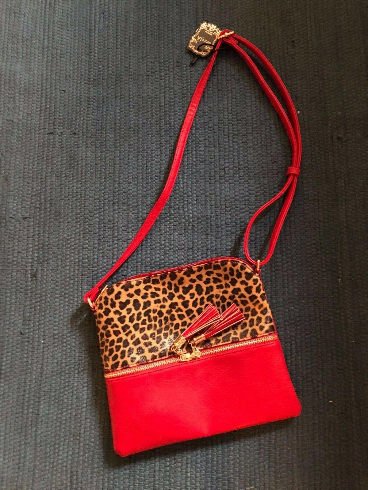Alyssa Red Faux Print Crossbody
