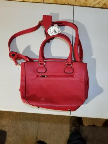 RED white HANDBAG SATCHEL MESSENGER STRAP