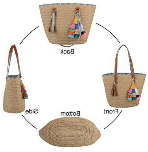 Straw Tote Bag for Women Summer Beach Woven Purse Handbag