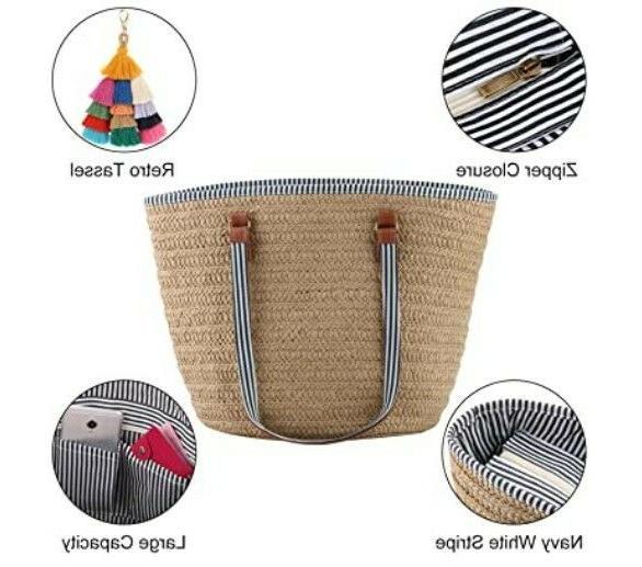 Straw Shoulder for Women Beach Woven Purse Tassel