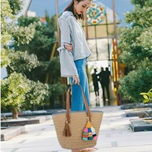 Straw Shoulder for Women Beach Woven Handbag Tassel NEW