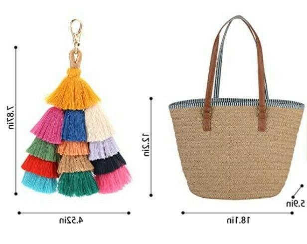 Straw Shoulder Bag for Summer Beach Woven Handbag Tassel