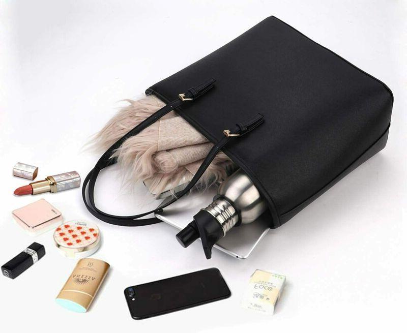Tote Handbags for Shoulder Purses Durable Golden Zippers Black