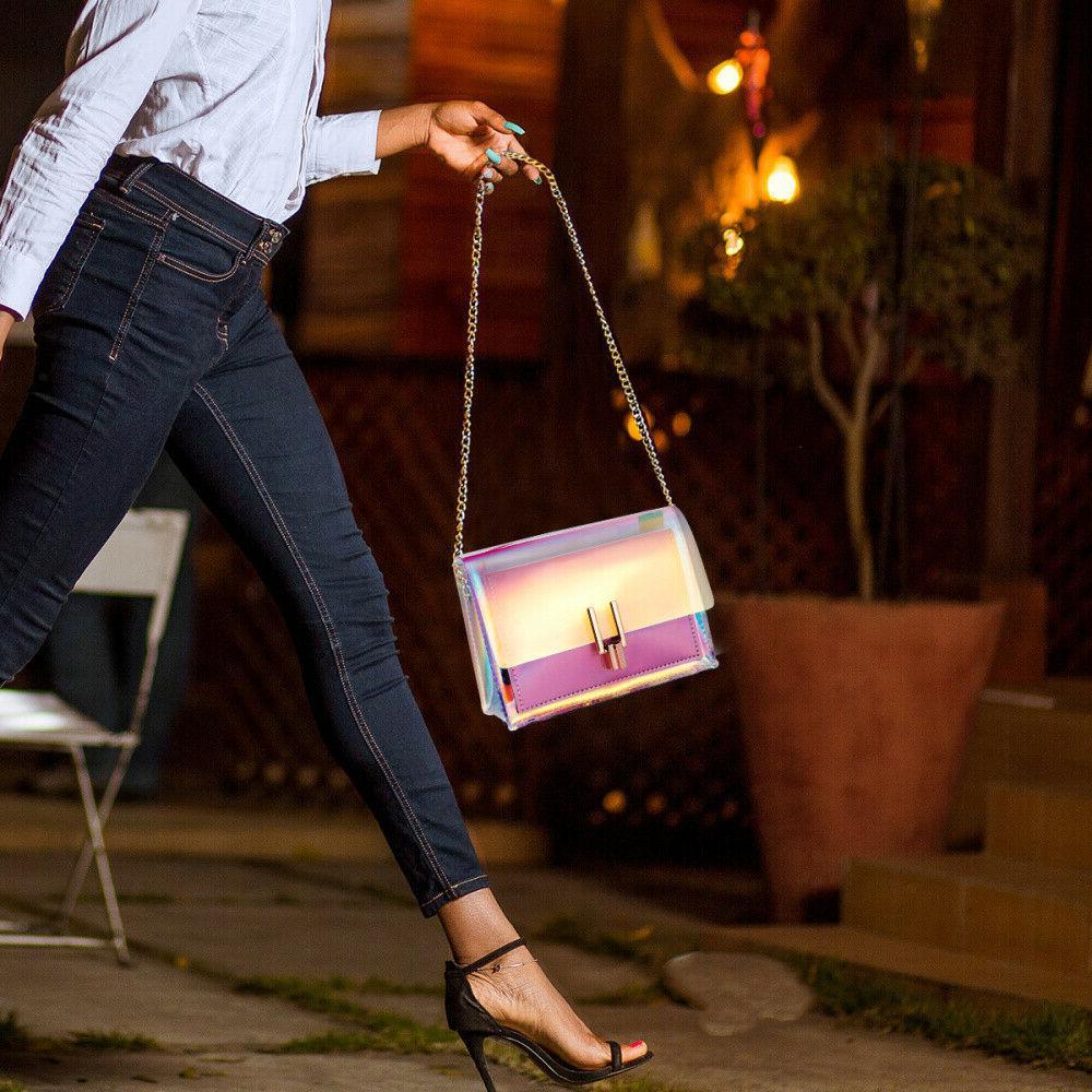 Transparent Handbag Colorful Chain Bag Rainbow Clear Mini Bag