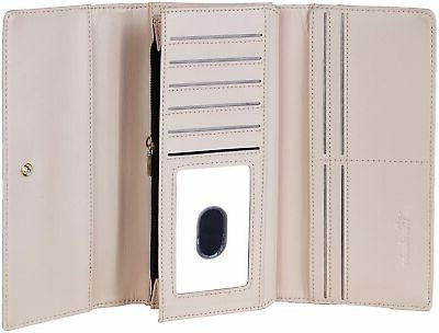 Travelambo Womens Faux Leather Blocking Credit Card Clutch