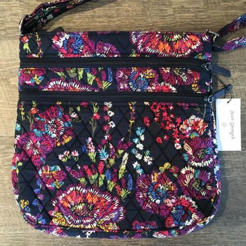 Vera Triple Zip Hipster Midnight Wildflowers Crossbody Purse