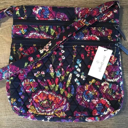 triple zip hipster midnight wildflowers crossbody purse