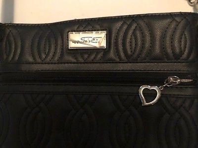 Bella Vegan Crossbody Shoulder Handbag Blk Metal Quilted