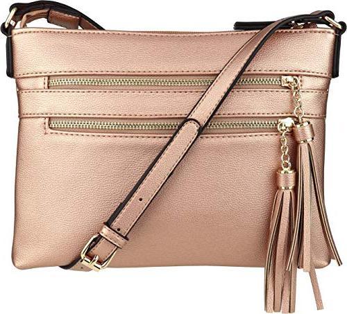 vegan multi zipper crossbody handbag purse
