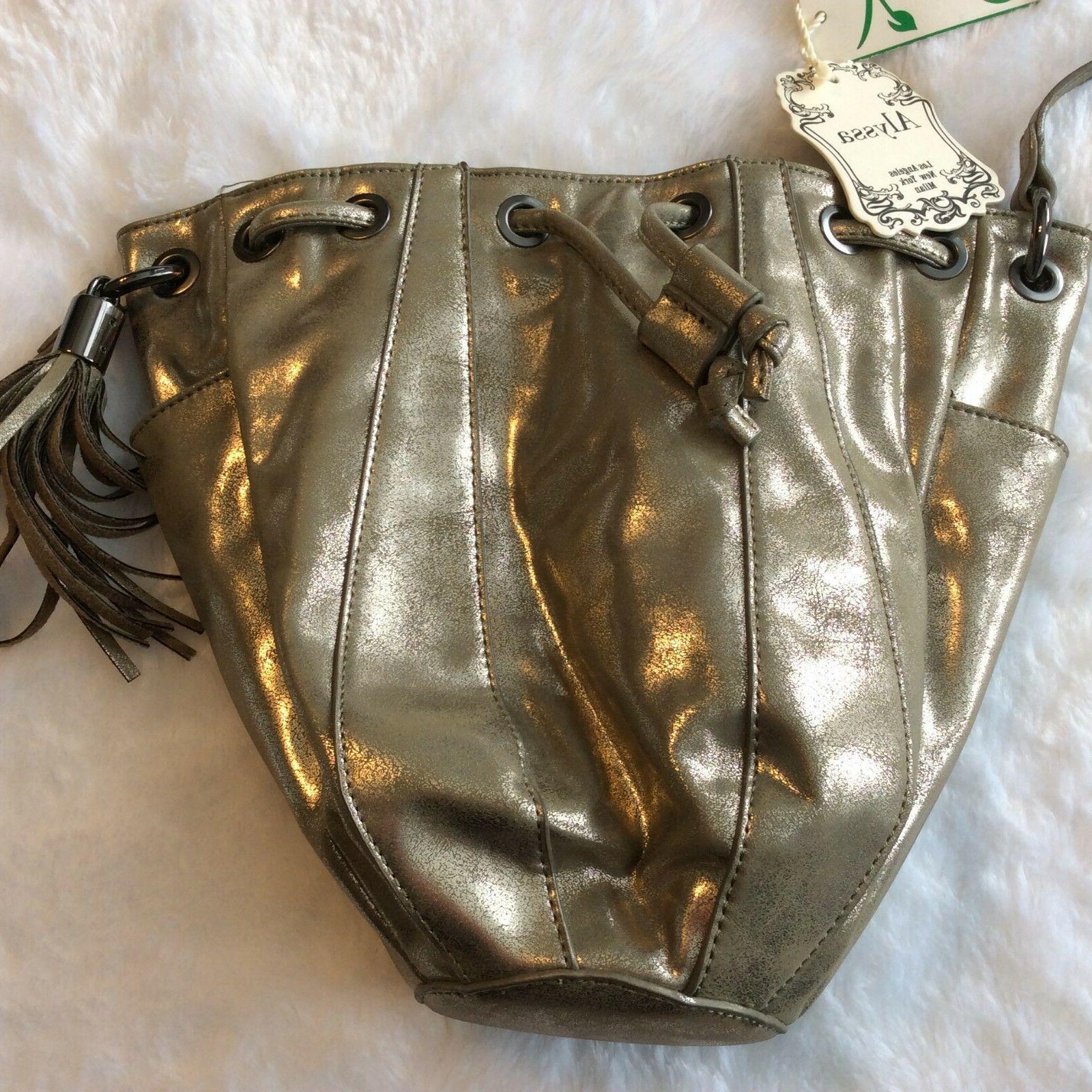 Alyssa Bag Cross Gold Taupe Cinch Tassel
