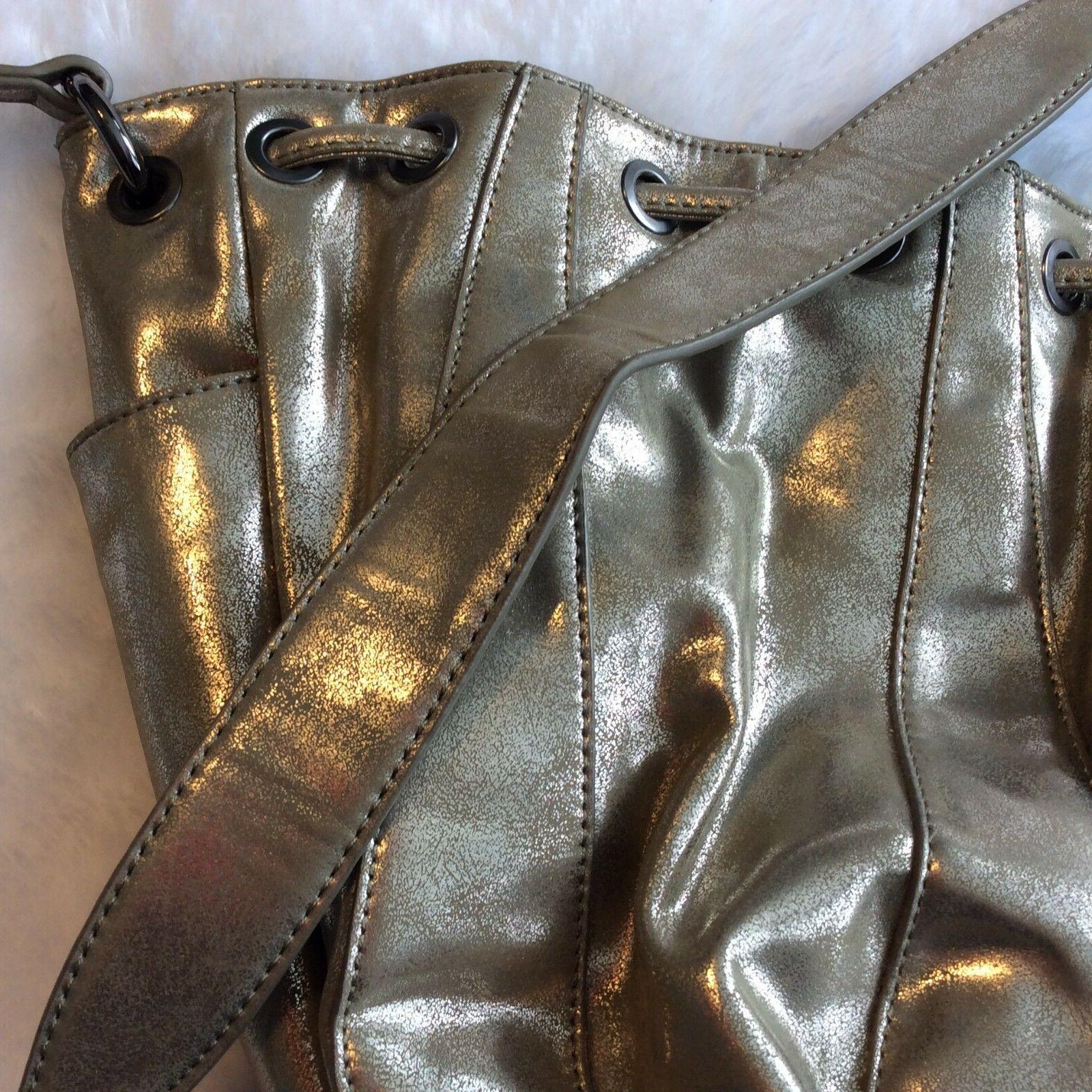 Alyssa Hand Bag Gold Taupe Cinch Medium Tassel
