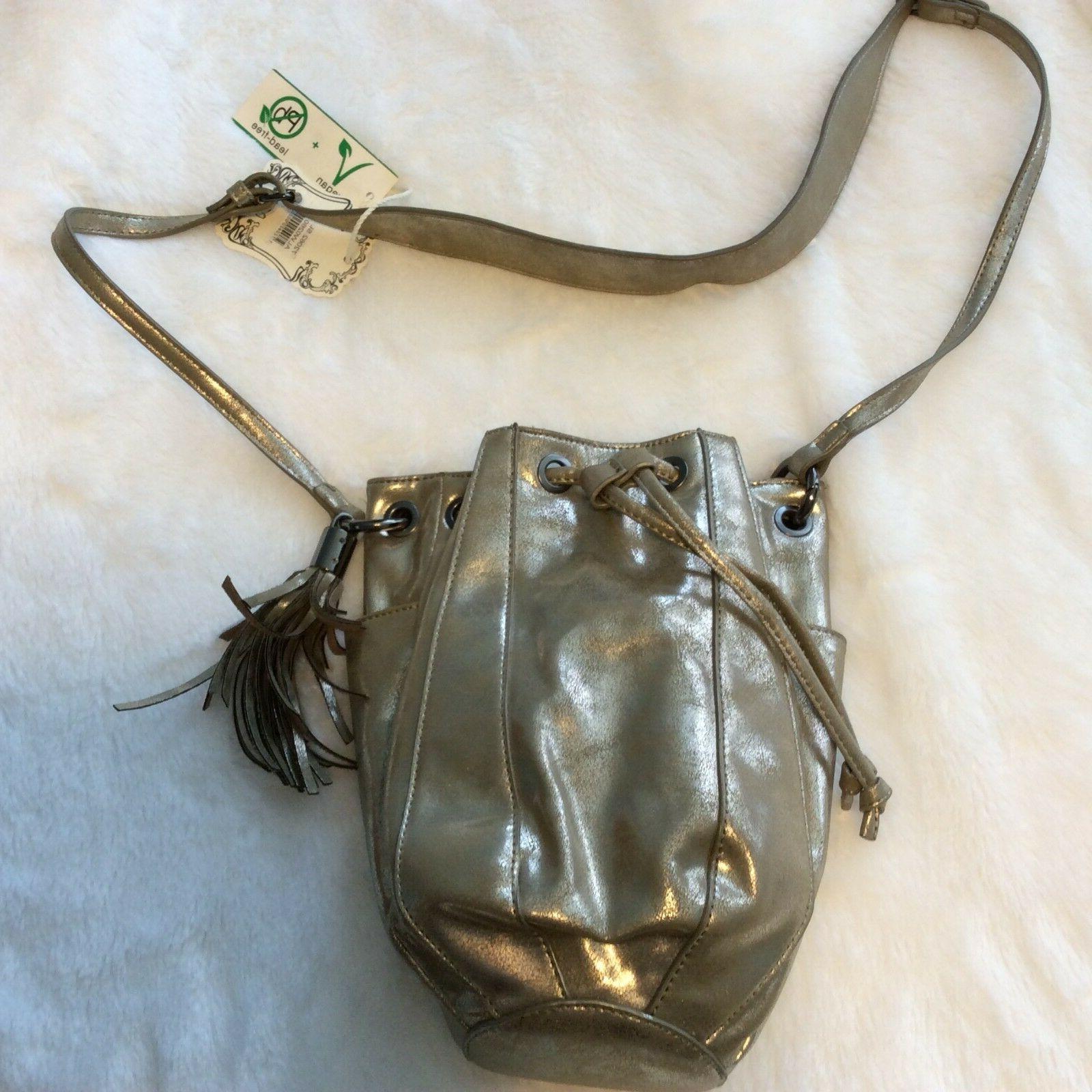 vegan purse hand bag cross body metallic