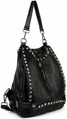 UTO Women Backpack Purse Washed Leather Rivet Studded Conver