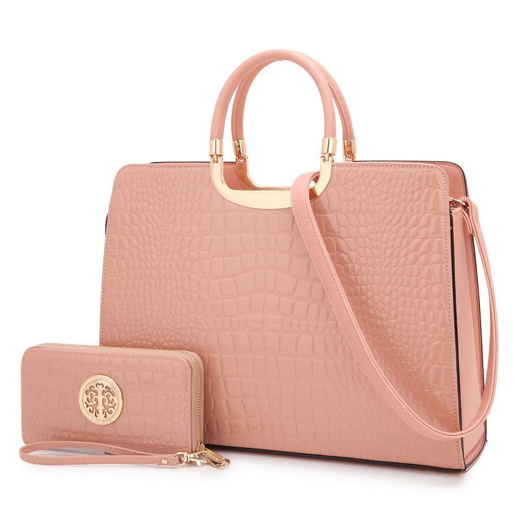 Women Faux Leather Handbag Set Briefcase Purse Shoulder Bag