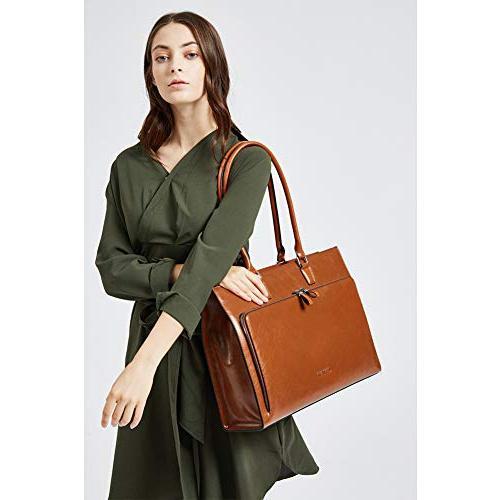 "BOSTANTEN Women Leather Vintage 15.6"" Laptop Tote Handbags Brown"