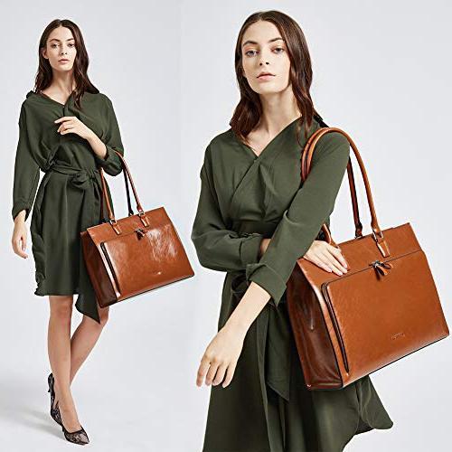 "BOSTANTEN Leather Vintage 15.6"" Laptop Tote Handbags Brown"
