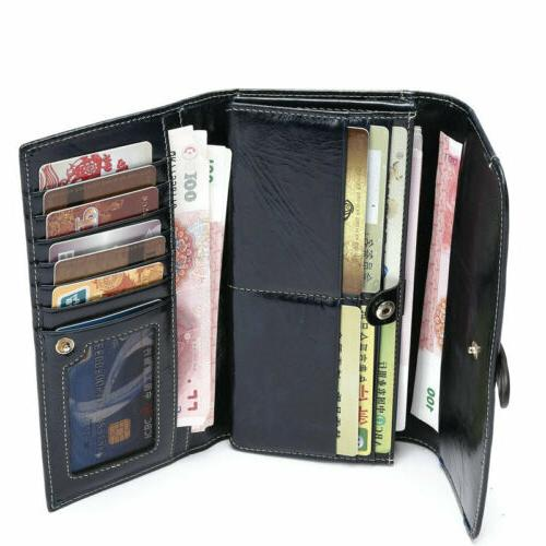 Women Long Wallet Trifold Strap Purse Money