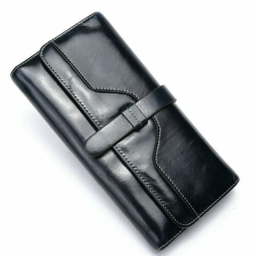 Women Long Genuine Wallet Strap Purse