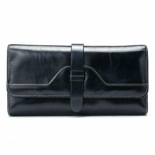 women long genuine leather wallet trifold strap