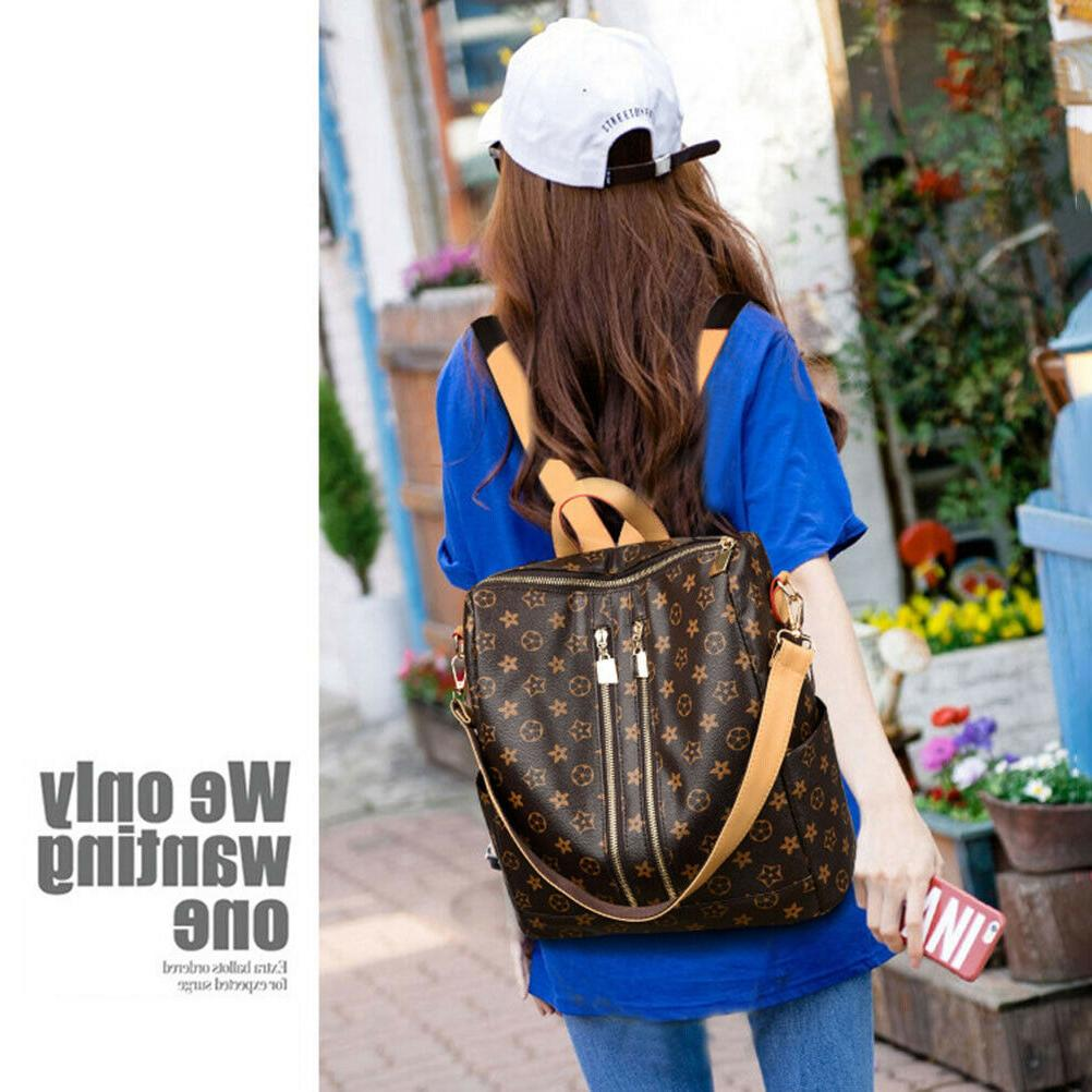Women PU Leather Backpack Bag Cross Shoulder Handbag