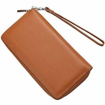 Women RFID Genuine Zip Around Clutch