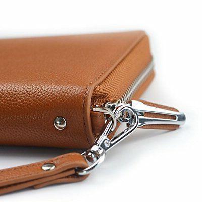 Genuine Leather Zip Clutch Purse