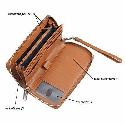Women RFID Genuine Clutch Large