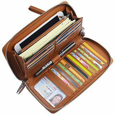 women rfid blocking wallet genuine leather zip
