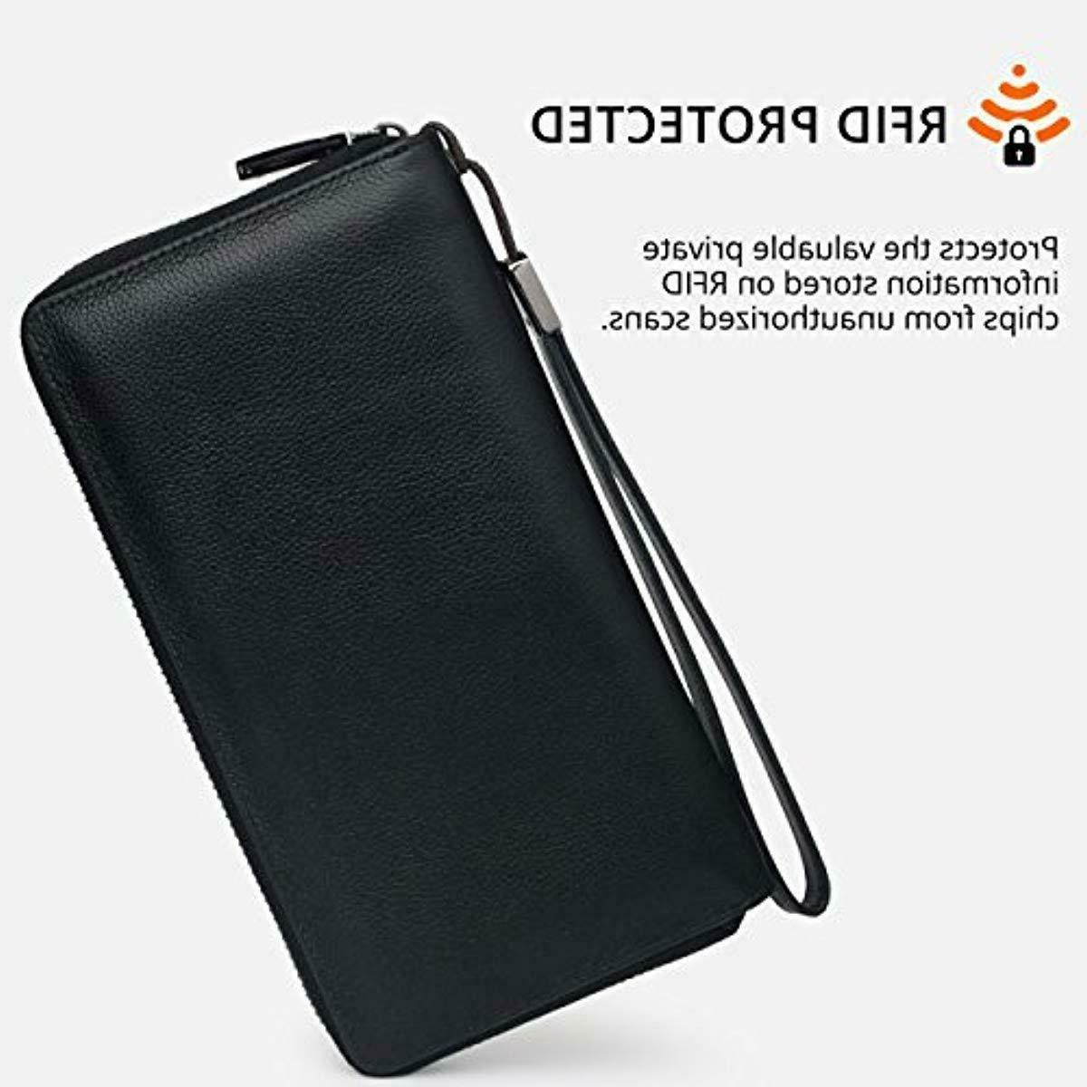 Bveyzi RFID Blocking Wallet Leather Zip Phone Clutch Purse Black
