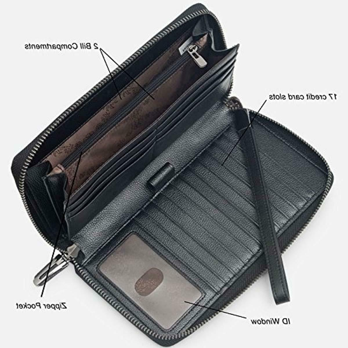 Bveyzi Women RFID Wallet Leather Zip Phone Clutch Purse