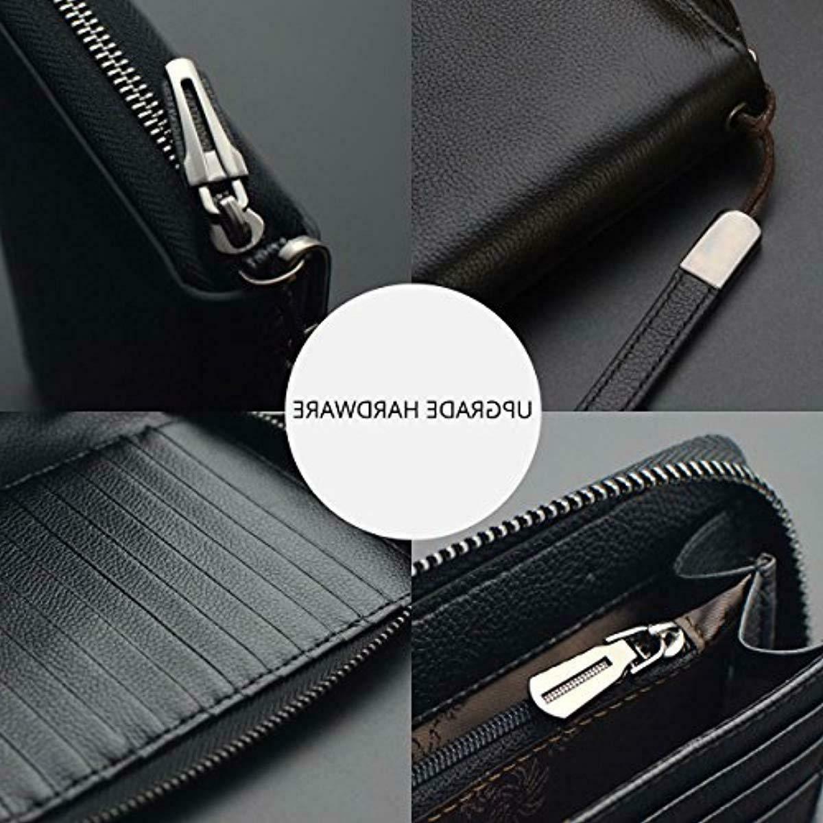 Bveyzi Women RFID Wallet Leather Zip Phone Clutch Purse Black