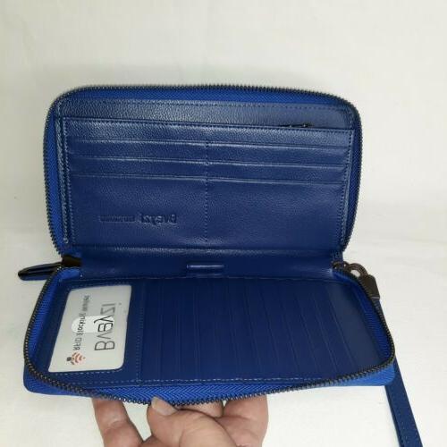 Bveyzi Wallet Navy Leather Phone Clutch