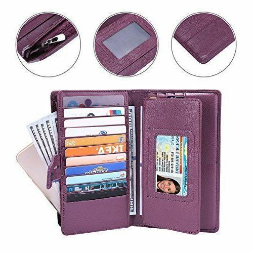 Itslife RFID Leather Checkbook Holder Purse