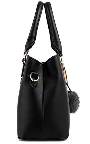 Dreubea Leather Handbag Tote Purse Black