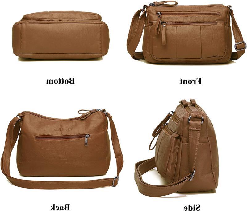 Women's Leather Shoulder Bag Multiple Cross Body