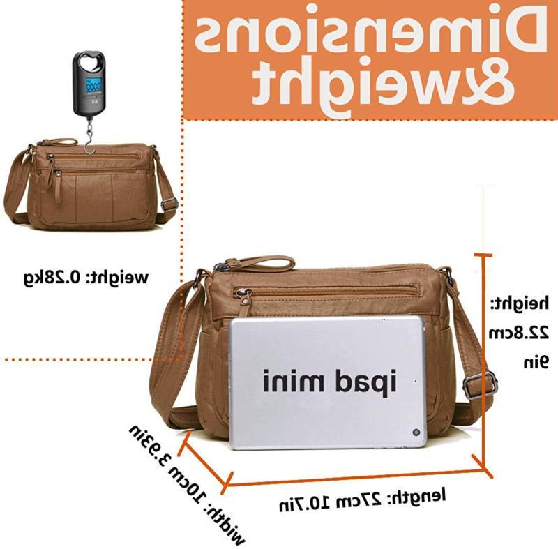 Women's Leather Organizer Shoulder Bag Multiple Pockets Cross Body
